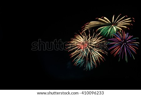 beautiful Fireworks light up the sky  - stock photo