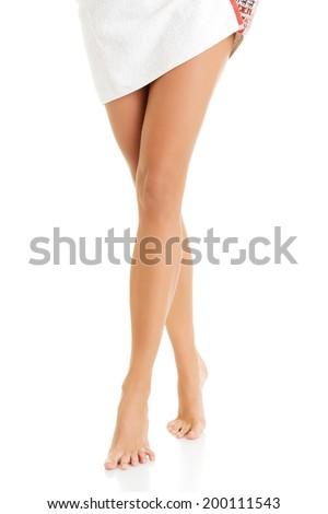 Beautiful fit long woman legs - stock photo