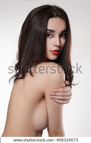 Beautiful fit topless woman, isolated on white. naked beauty sexy girl - stock photo