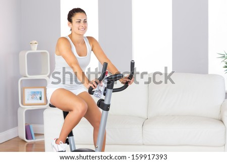 Beautiful fit woman training on an exercise bike in her living room at home - stock photo