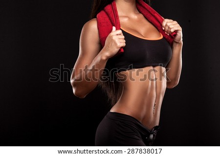 beautiful fit woman with a towel - stock photo