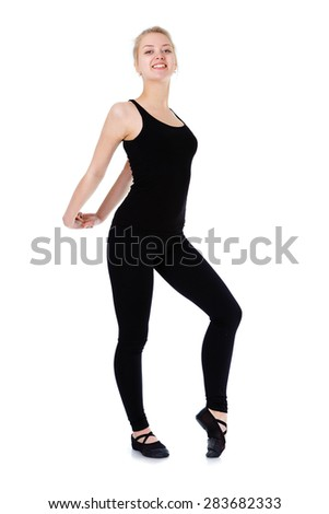 Beautiful fitness flexible young blonde woman gymnast doing stretching exercise, isolated on white background - stock photo