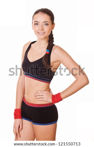 beautiful fitness woman in sportswear isolated on white background - stock photo