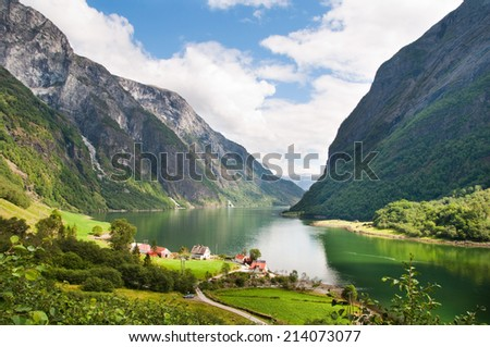 Beautiful fjord landscape - Naeroyfjord in Norway - stock photo