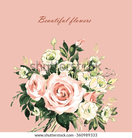 Beautiful floral background with spring flowers and roses-2. Beautiful floral background of watercolor sketches for the design and decoration. Toned. Vintage. - stock photo