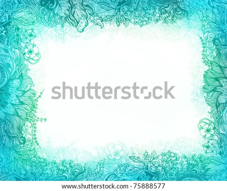 Beautiful floral patterned frame with flowers in turquoise - stock photo