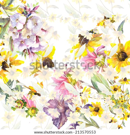 Beautiful Floral Seamless Garland Yellow Rudbeckia . Watercolor hand painting illustration.  - stock photo