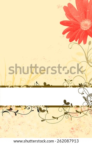 beautiful floral spring and summer background with empty white description field for text, with red blossom, grungy ornaments  - stock photo