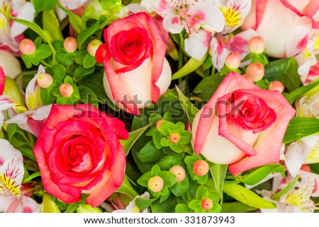 Beautiful Flower Arrangement Made By 3 Big Roses - stock photo