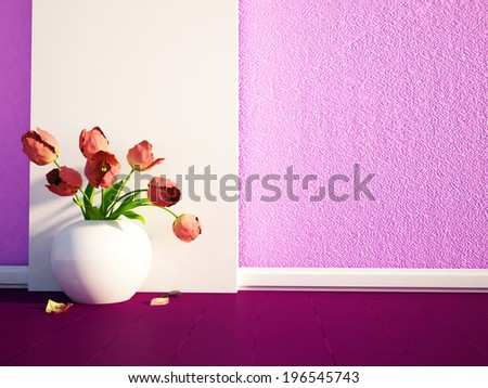 Beautiful flowers are  in a white vase - stock photo