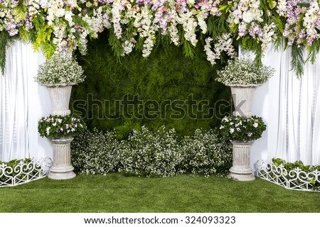 Beautiful flowers background for wedding scene  - stock photo