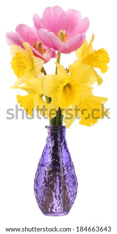 Beautiful flowers in vase isolated on white - stock photo