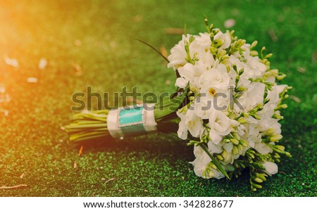 beautiful flowers in wedding sunny summer day - stock photo