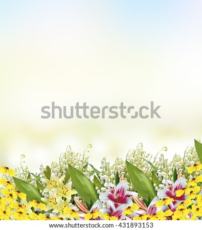 Beautiful flowers lily and lily of the valley - stock photo