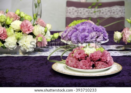 Beautiful flowers on the wedding table  - stock photo