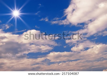 beautiful fluffy clouds in the sky - stock photo