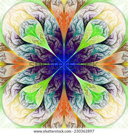 Beautiful fractal flower in beige, blue and green. Computer generated graphics. - stock photo