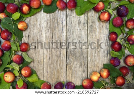 Beautiful frame of small red-ripe apples with green leaves on raw wooden background. Delicious fruit. Image of natural materials. Eco style.  - stock photo