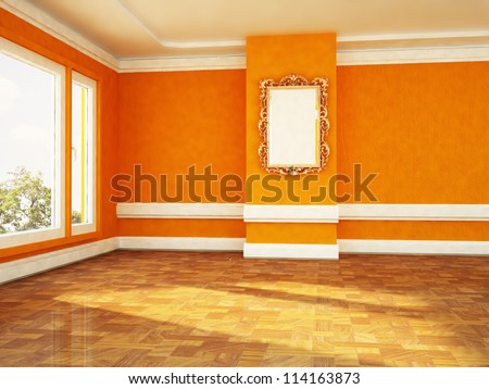 beautiful frame on the wall in an empty room - stock photo