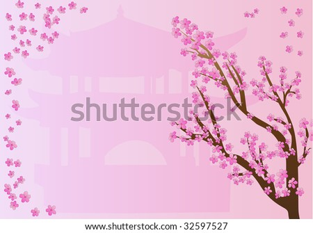 Beautiful frame with chinese motives with pagoda and sakura in blossom (Rasterized versions. Vector format is available in my portfolio.) - stock photo