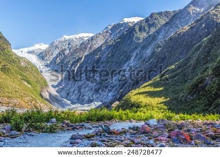 Beautiful Franz Jozef Glacier, South Island, New Zealand. - stock photo
