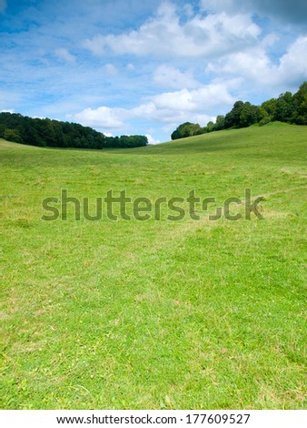 Beautiful French rural landscape in the summer - stock photo