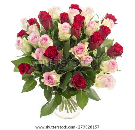 Beautiful fresh red and pink roses in a vase isolated on white background - stock photo