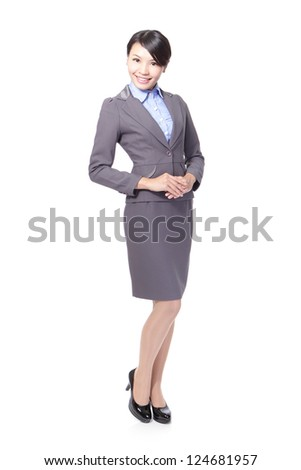 beautiful Full length of a confident young business woman standing isolated on white background, asian beauty model - stock photo