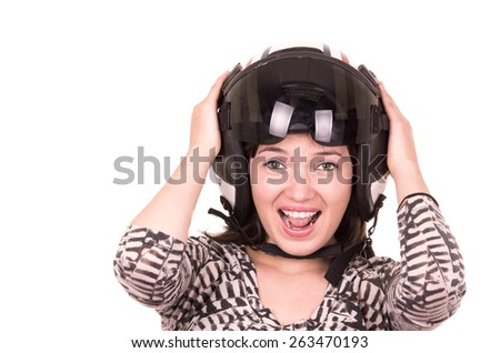 beautiful fun happy young girl wearing a helmet isolated on white - stock photo