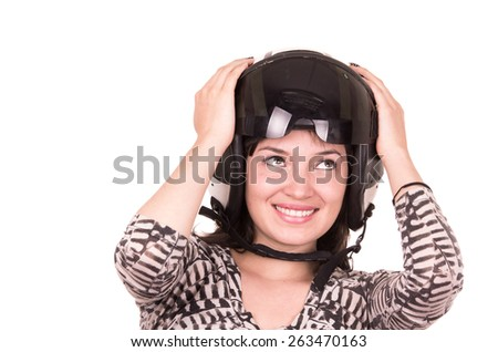 beautiful fun happy young girl wearing a helmet looking up isolated on white - stock photo