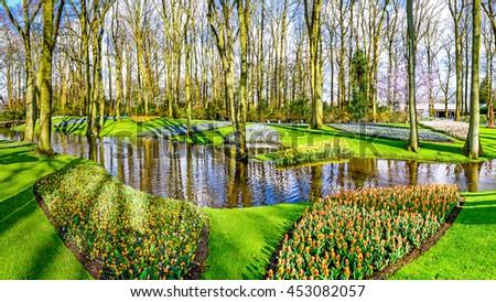 Beautiful garden in Keukenhof park, The Netherlands, Europe. - stock photo