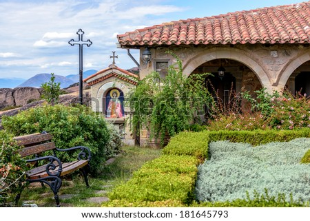 Beautiful garden in Meteora Agio Stefano monastery in Greece - stock photo