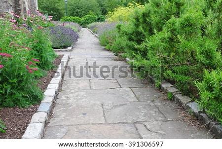 Beautiful Garden Path - stock photo