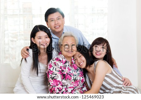 beautiful 3 generations family - stock photo