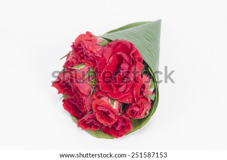 Beautiful gerberas and roses. isolated on white - stock photo