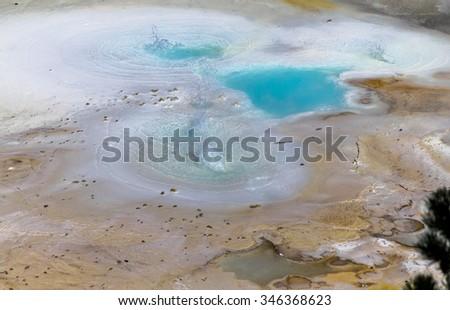 Beautiful Geysir landscape of Yellowstone National Park - stock photo