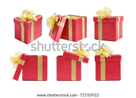 Beautiful gift box in many different point of view - stock photo