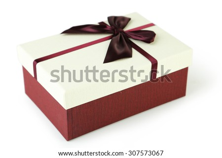 Beautiful gift box isolated on white - stock photo