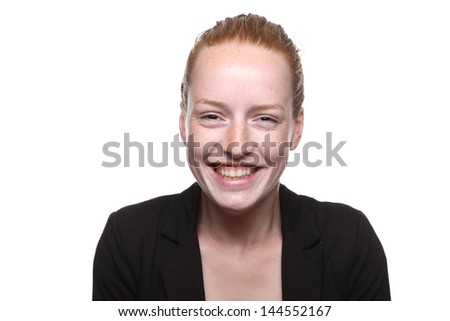 Beautiful ginger doing expression - stock photo