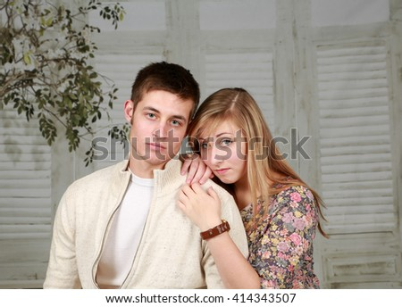beautiful girl and guy fashion models  - stock photo