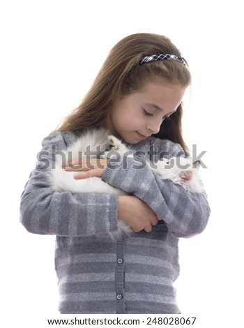 Beautiful Girl and Her Cat Isolated on White Background - stock photo