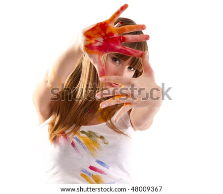 Beautiful girl artist. Isolated on the white. - stock photo