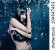 beautiful girl artwork with waterdrops - stock photo