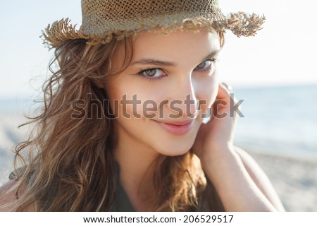 Beautiful girl close up portrait. Outdoor shoot - stock photo