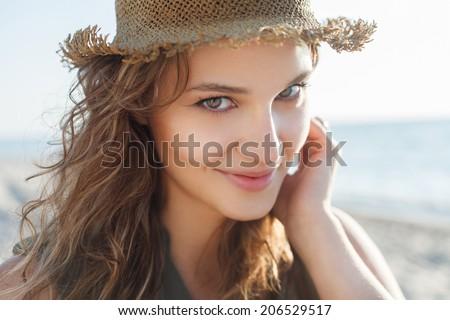 Beautiful girl close up portrait. Outdoor shoot - stock photo