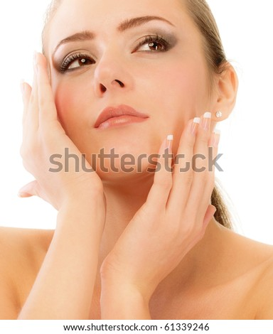Beautiful girl close up with bared shoulders, isolated on white background. - stock photo