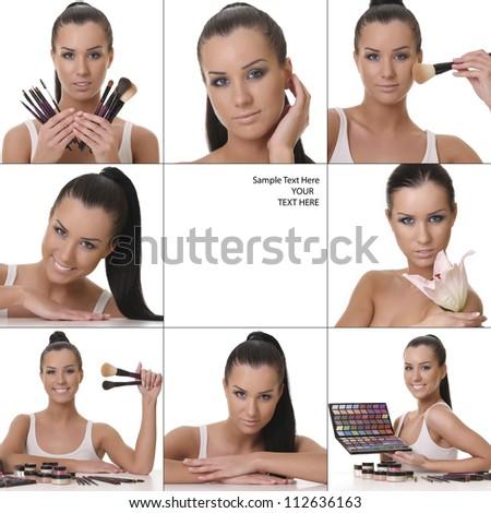 beautiful girl cosmetics set - stock photo