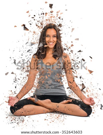Beautiful Girl doing a Yoga Lotus pose with a modern shattered effect around her - stock photo