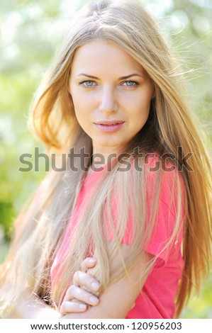 Beautiful girl face. Perfect clear skin - closeup - stock photo