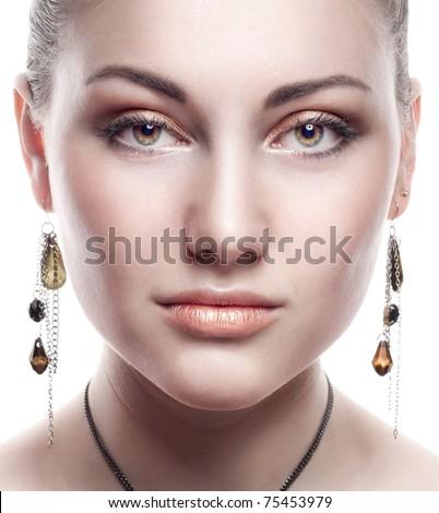 Beautiful Girl face.Perfect skin - stock photo